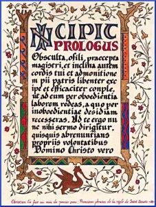 Prime righe della Regola di San Benedetto