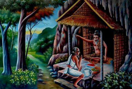 Dipinto che ritrae una devota in visita al guru Siddharta Gautama