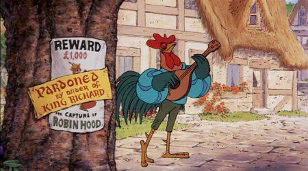 Gallo cantastorie nel cartone animato di Robin Hood di Walt Disney