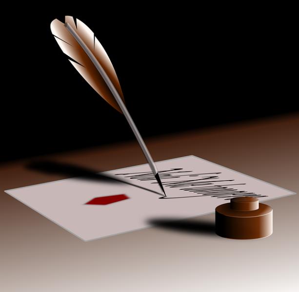scrivimi con la penna d'oca e il calamaio...