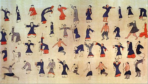 Tra le discipline orientali troviamo il Qi Gong. Qui lo Stendardo di Mawangdui, che rappresenta quasi tutte le posizioni del Qi Gong moderno.