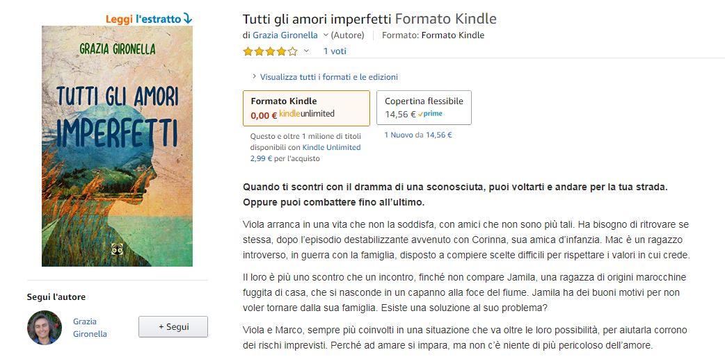 Pagina Amazon del romanzo Tutti gli amori imperfetti, di Grazia Gironella.